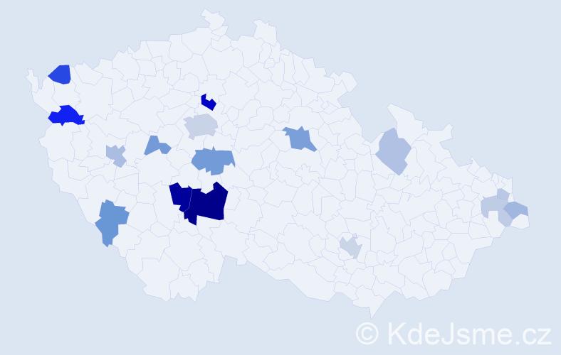 Příjmení: 'Bervida', počet výskytů 37 v celé ČR