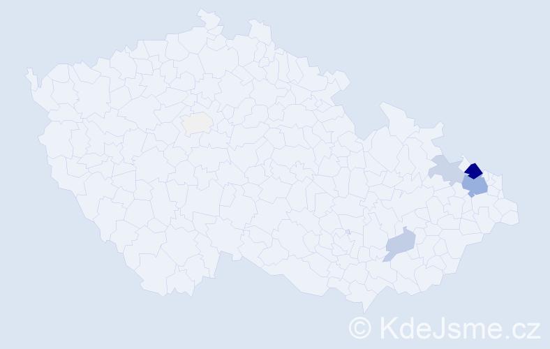 Příjmení: 'Klapec', počet výskytů 28 v celé ČR