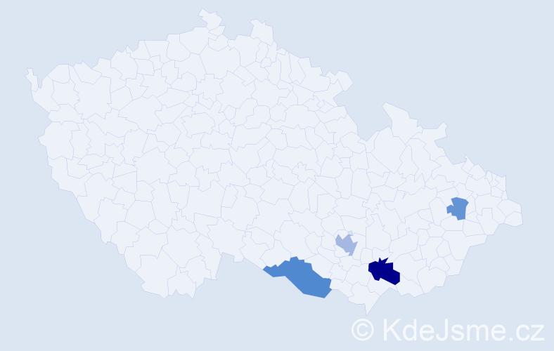 Příjmení: 'Gerspitzerová', počet výskytů 8 v celé ČR