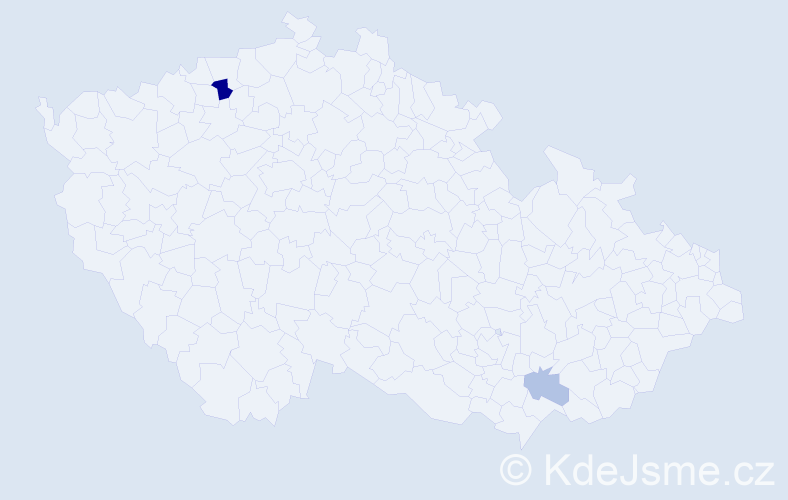 Příjmení: 'Černej', počet výskytů 4 v celé ČR