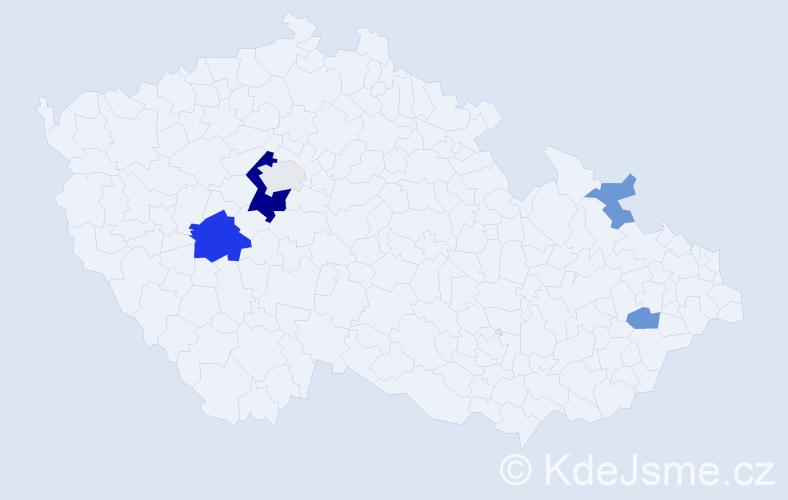 Příjmení: 'Hešnaurová', počet výskytů 12 v celé ČR