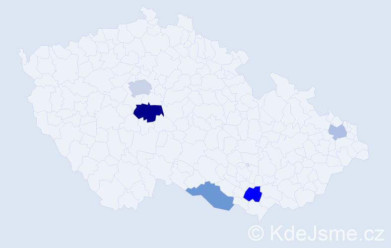 Příjmení: 'Black', počet výskytů 7 v celé ČR