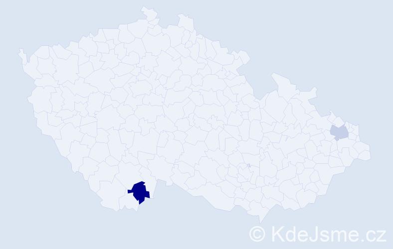 Příjmení: 'Ábelovszká', počet výskytů 2 v celé ČR