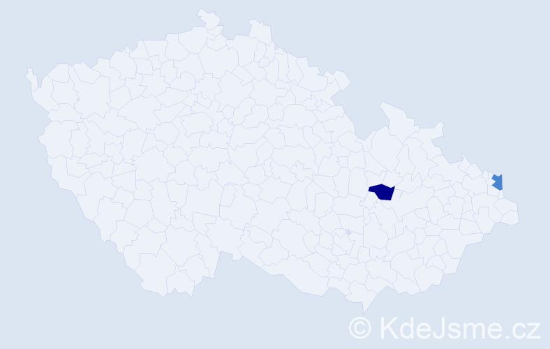 Příjmení: 'Gritnerová', počet výskytů 5 v celé ČR