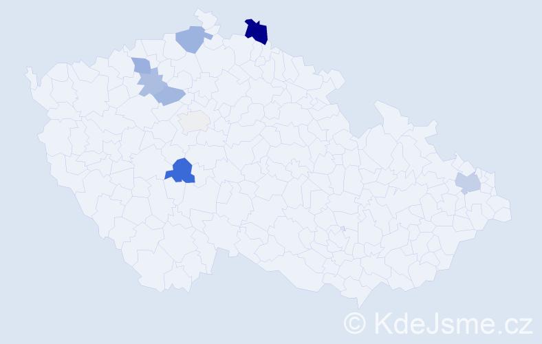 Příjmení: 'Ďurmeková', počet výskytů 16 v celé ČR