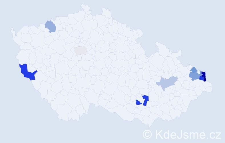 Příjmení: 'Keler', počet výskytů 25 v celé ČR