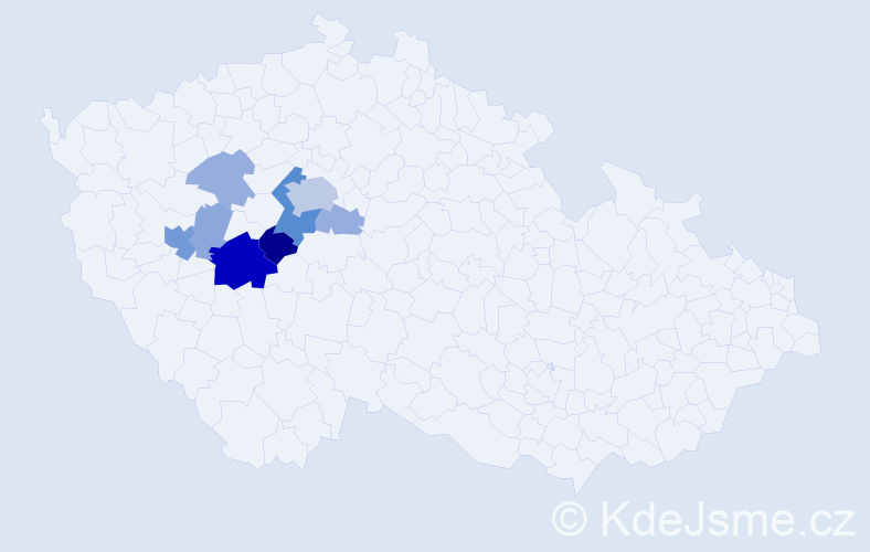 Příjmení: 'Hacaperka', počet výskytů 26 v celé ČR