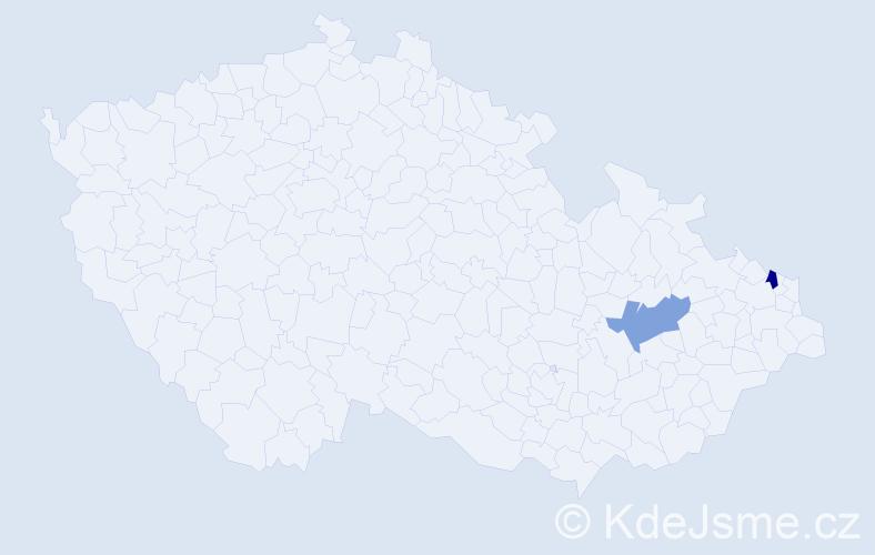 Příjmení: 'Jendřiščíková', počet výskytů 6 v celé ČR