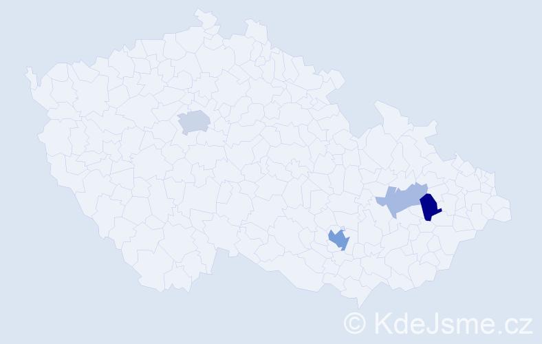 Příjmení: 'Hadamová', počet výskytů 10 v celé ČR