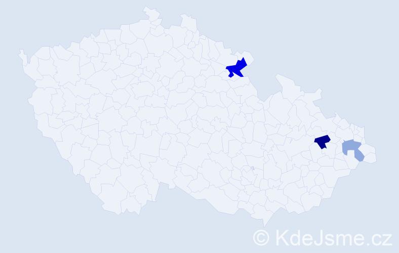 Příjmení: 'Klesl', počet výskytů 5 v celé ČR