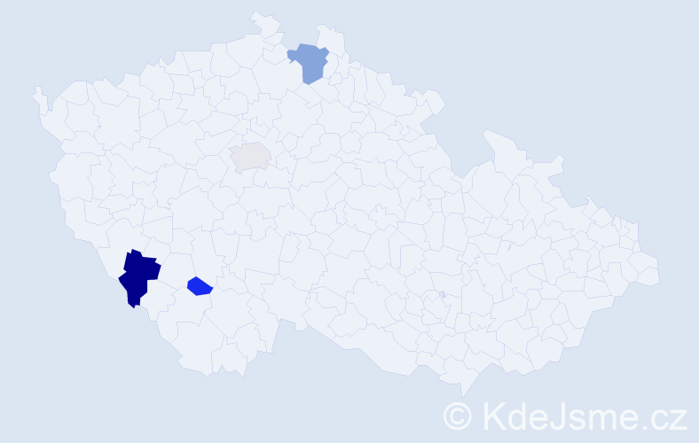 Příjmení: 'Kaltenbrunner', počet výskytů 9 v celé ČR