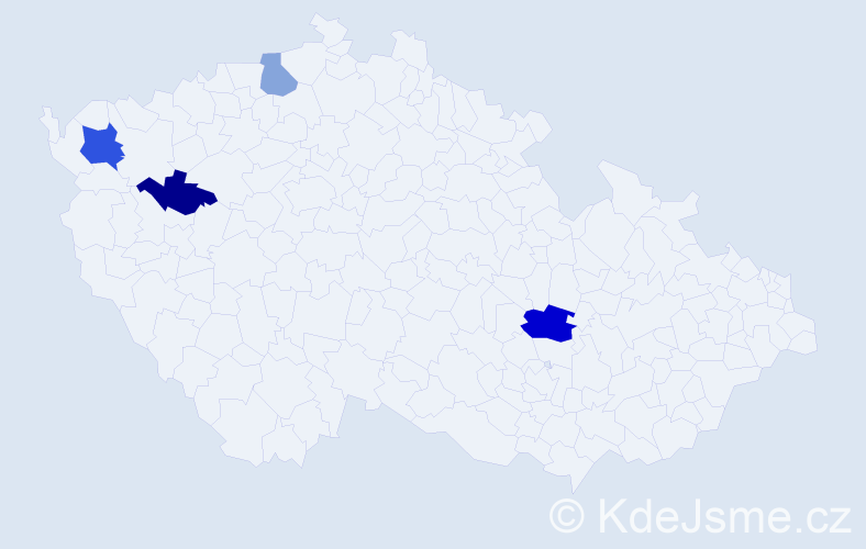 Příjmení: 'Bogan', počet výskytů 6 v celé ČR