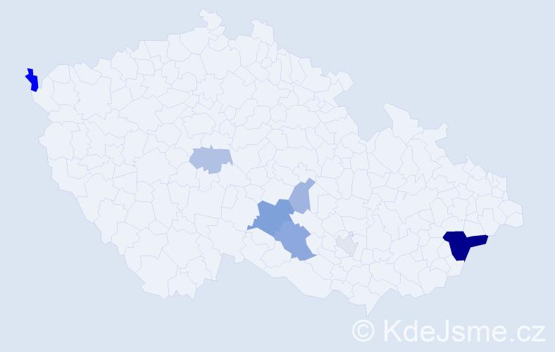 Příjmení: 'Kaňát', počet výskytů 19 v celé ČR