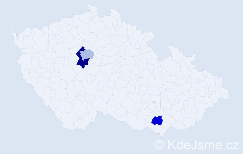 Příjmení: 'Lara', počet výskytů 7 v celé ČR