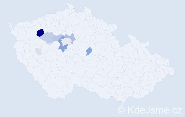 Příjmení: 'Lehoučková', počet výskytů 16 v celé ČR