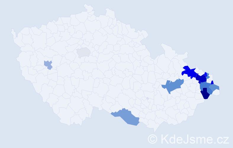 Příjmení: 'Banašová', počet výskytů 23 v celé ČR