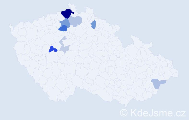 Příjmení: 'Jíravová', počet výskytů 18 v celé ČR