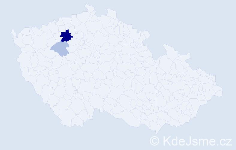 Příjmení: 'Kahátová', počet výskytů 7 v celé ČR