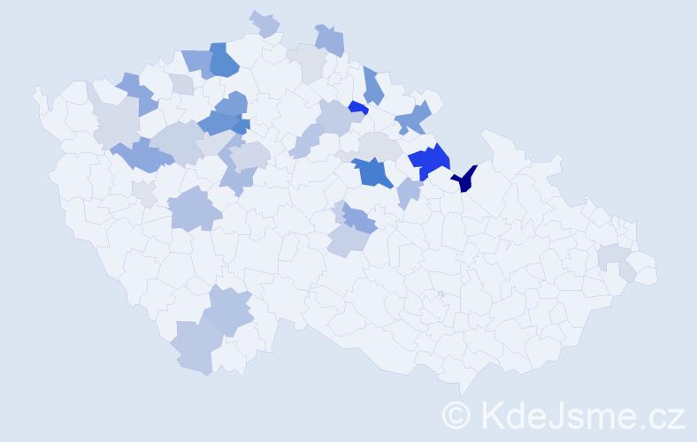 Příjmení: 'Hykyšová', počet výskytů 84 v celé ČR
