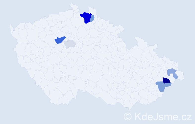 Příjmení: 'Hajflerová', počet výskytů 15 v celé ČR