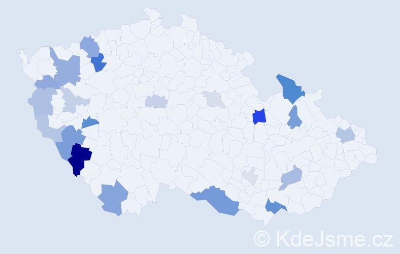 Příjmení: 'Mačuda', počet výskytů 53 v celé ČR
