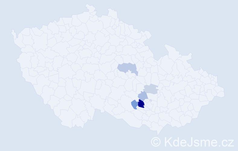 Příjmení: 'Konec', počet výskytů 11 v celé ČR