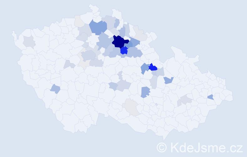 Příjmení: 'Janďourek', počet výskytů 151 v celé ČR