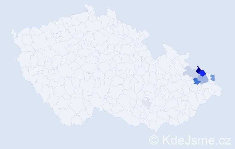 Příjmení: 'Krőmerová', počet výskytů 19 v celé ČR