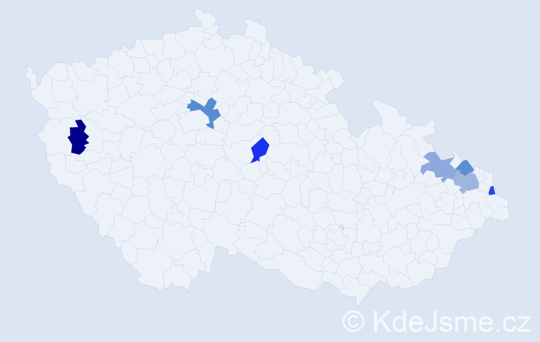 Příjmení: 'Hvizdák', počet výskytů 9 v celé ČR