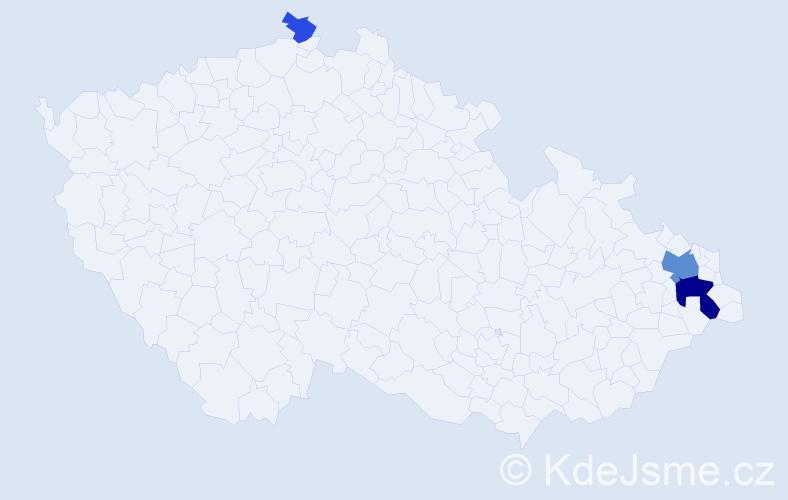 Příjmení: 'Hajnoš', počet výskytů 9 v celé ČR