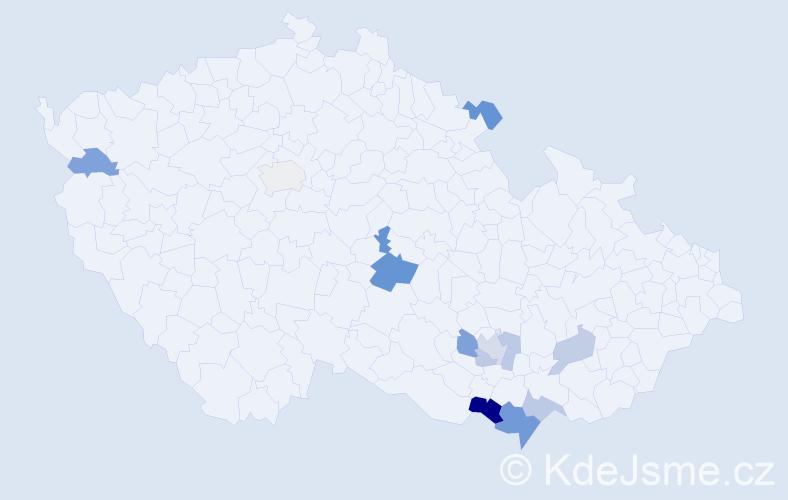 Příjmení: 'Hajdin', počet výskytů 18 v celé ČR