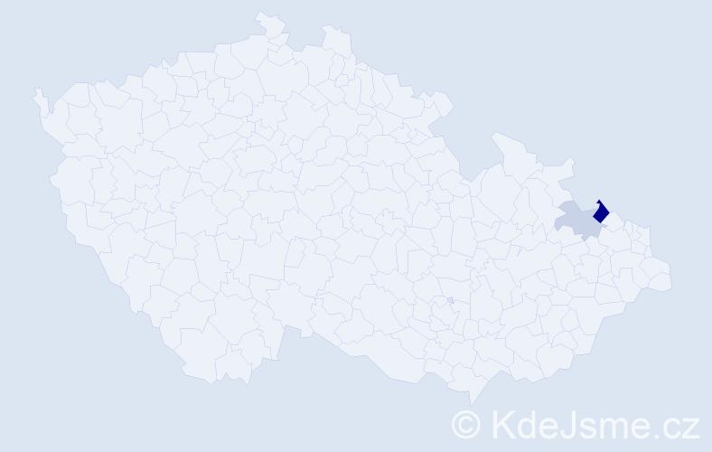 Příjmení: 'Badziurová', počet výskytů 4 v celé ČR