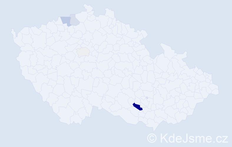 Příjmení: 'Krydl', počet výskytů 9 v celé ČR