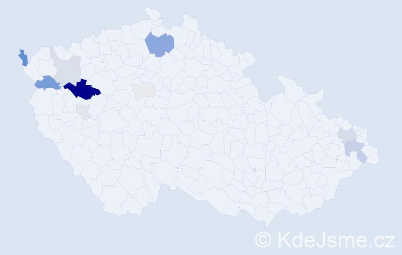 Příjmení: 'Kanátová', počet výskytů 24 v celé ČR