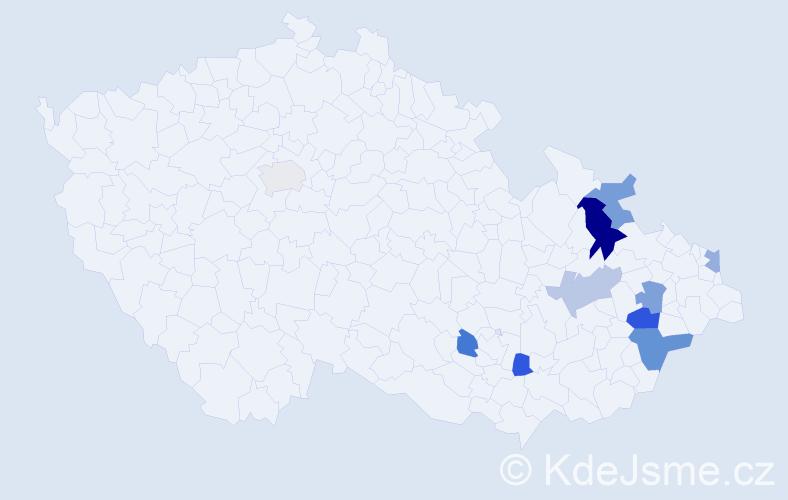 Příjmení: 'Košela', počet výskytů 14 v celé ČR
