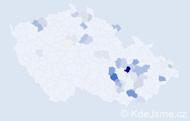 Příjmení: 'Čadílková', počet výskytů 88 v celé ČR