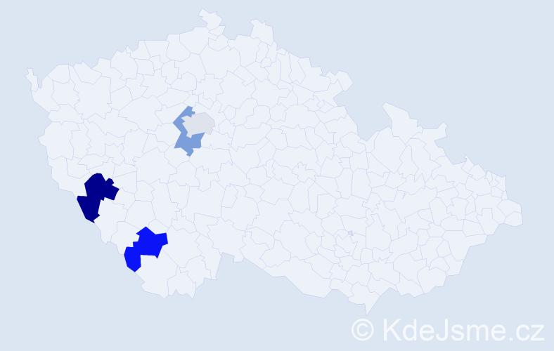 Příjmení: 'Čumpel', počet výskytů 5 v celé ČR
