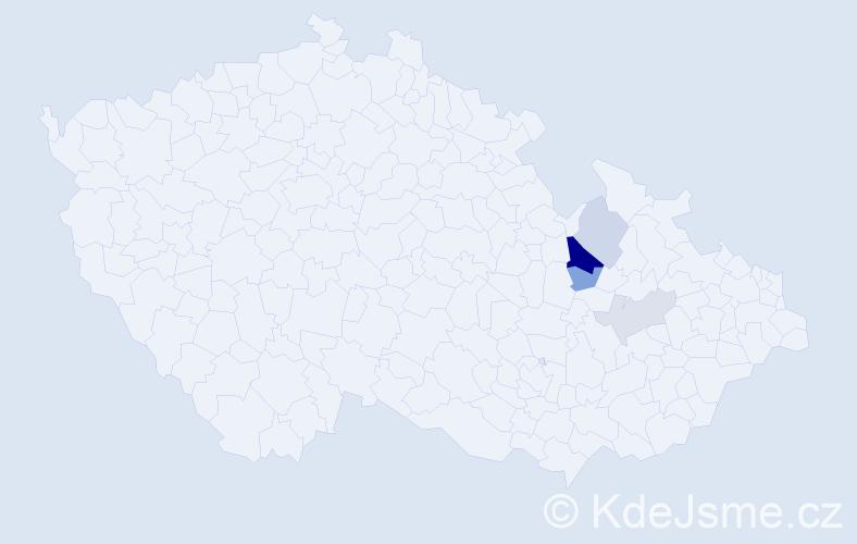 Příjmení: 'Kacele', počet výskytů 10 v celé ČR