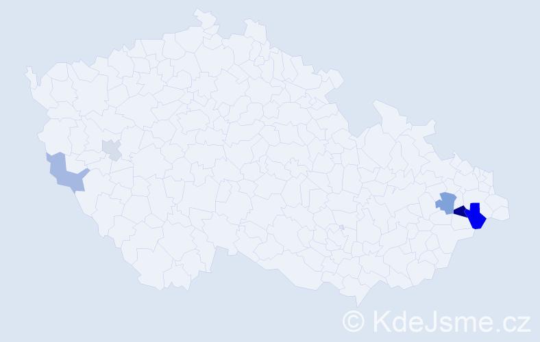 Příjmení: 'Brachniaková', počet výskytů 10 v celé ČR