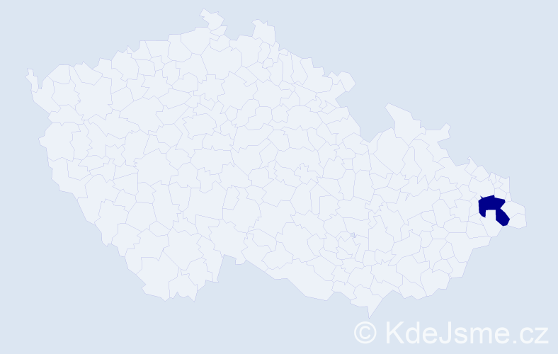 Příjmení: 'Barťáková', počet výskytů 1 v celé ČR