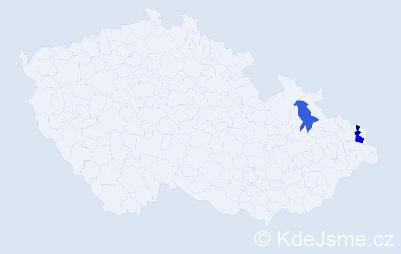 Příjmení: 'Bělk', počet výskytů 6 v celé ČR
