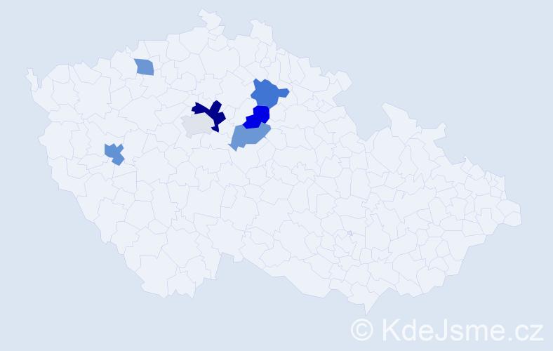 Příjmení: 'Ábrahám', počet výskytů 10 v celé ČR