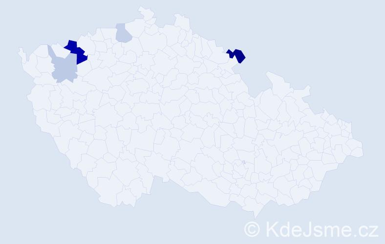 Příjmení: 'Hajdanková', počet výskytů 9 v celé ČR