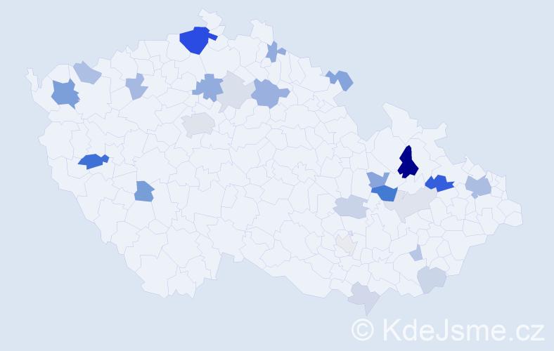 Příjmení: 'Ihnátová', počet výskytů 58 v celé ČR