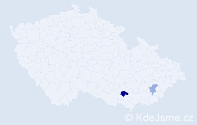 Příjmení: 'Cachia', počet výskytů 3 v celé ČR