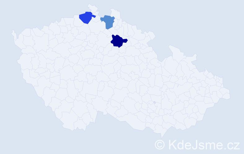 Příjmení: 'Hureiová', počet výskytů 3 v celé ČR