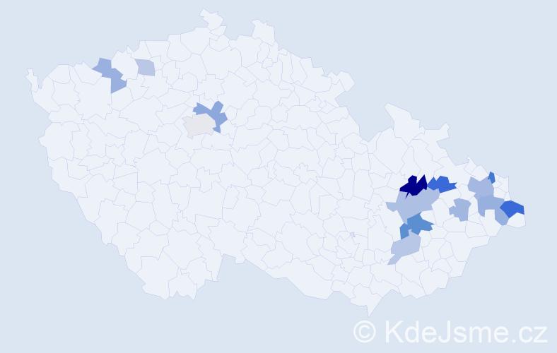 Příjmení: 'Klar', počet výskytů 30 v celé ČR
