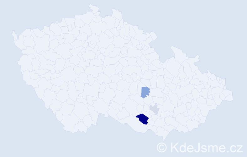 Příjmení: 'Hověz', počet výskytů 9 v celé ČR