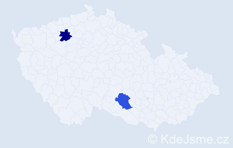 Příjmení: 'Ciešlaková', počet výskytů 2 v celé ČR