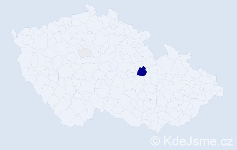 Příjmení: 'Hebiková', počet výskytů 3 v celé ČR